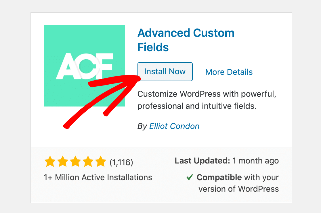 Install the Advanced Custom Fields plugin