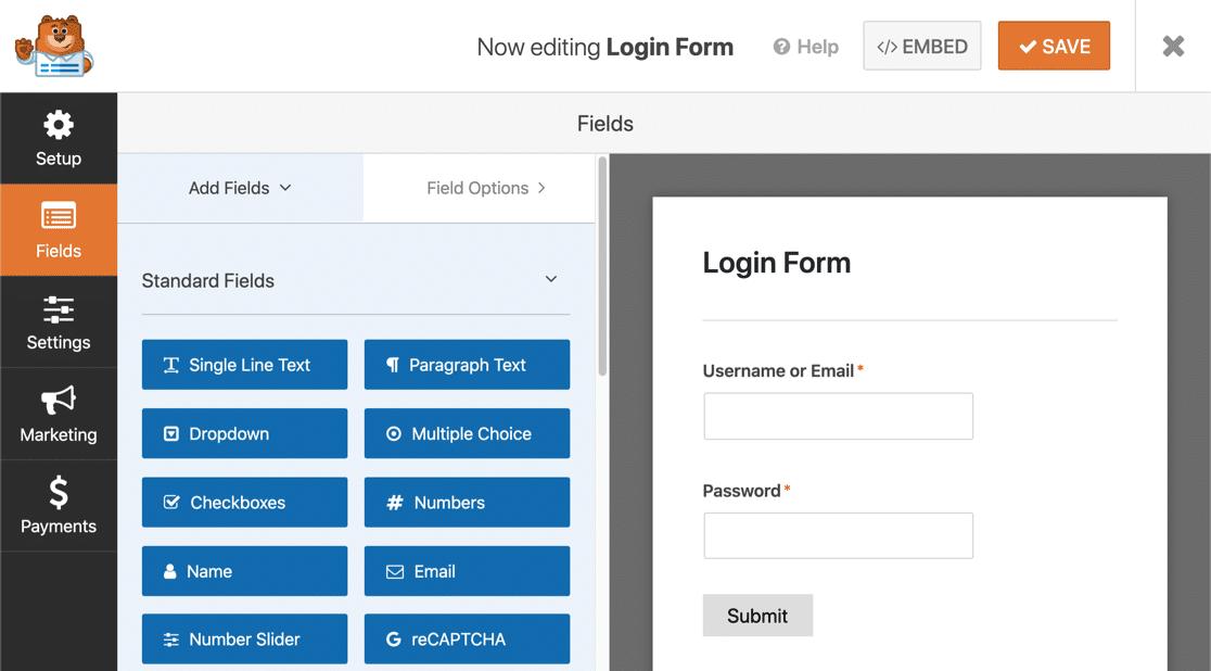 Custom login form template