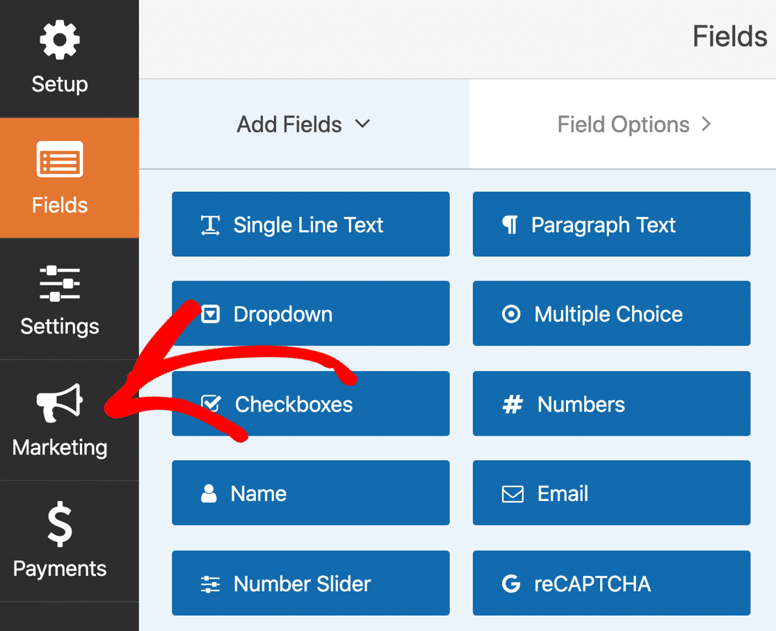 Open the Marketing settings in WPForms
