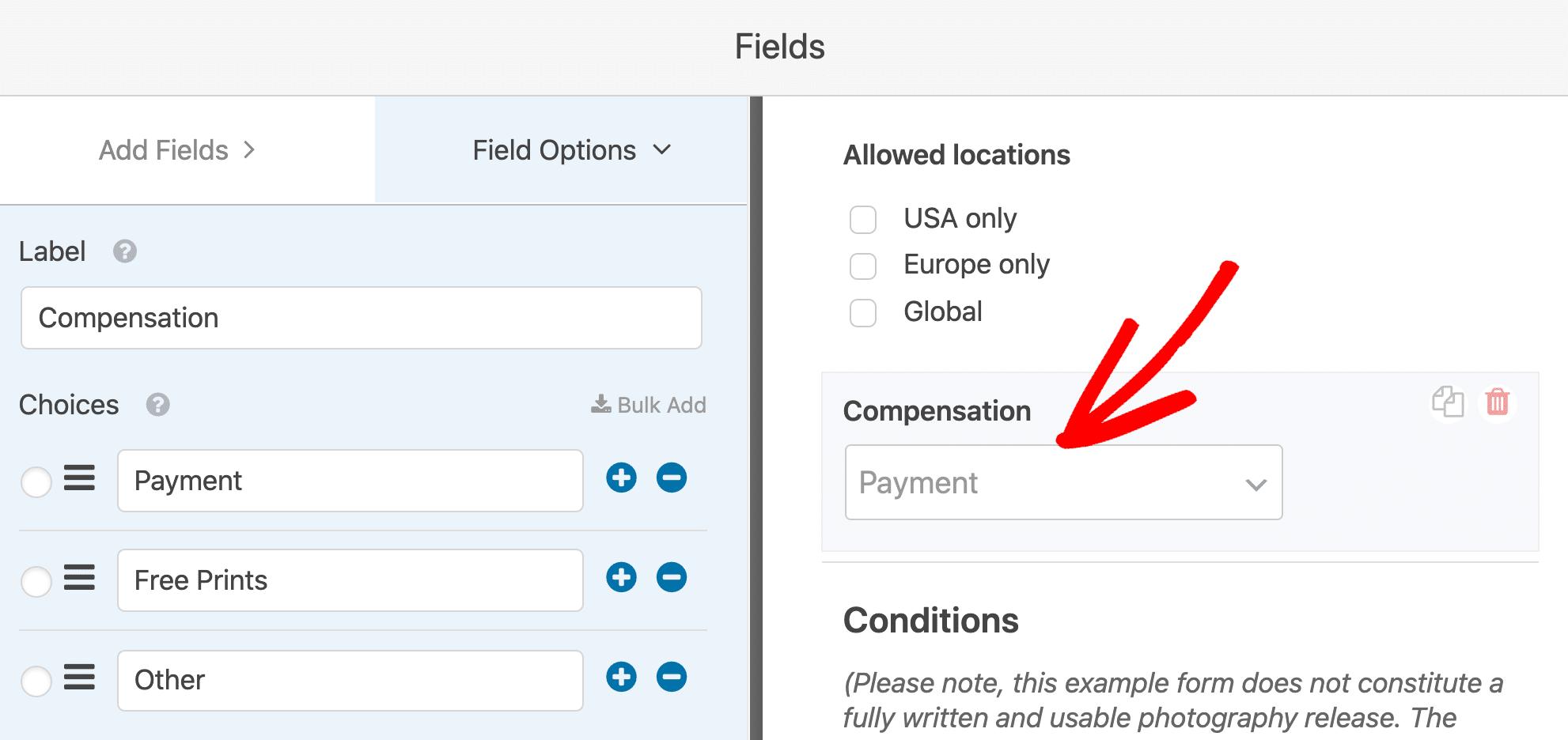 Model release form compensation field