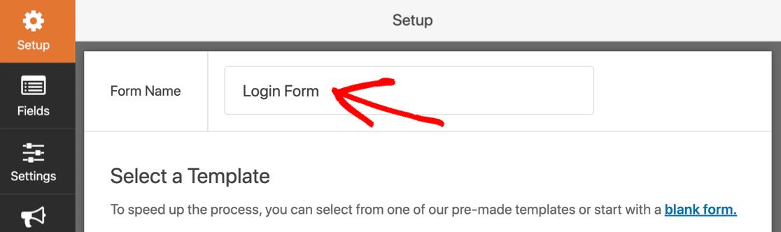 Name your custom login form