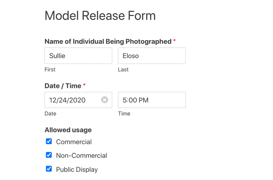 Online model release form