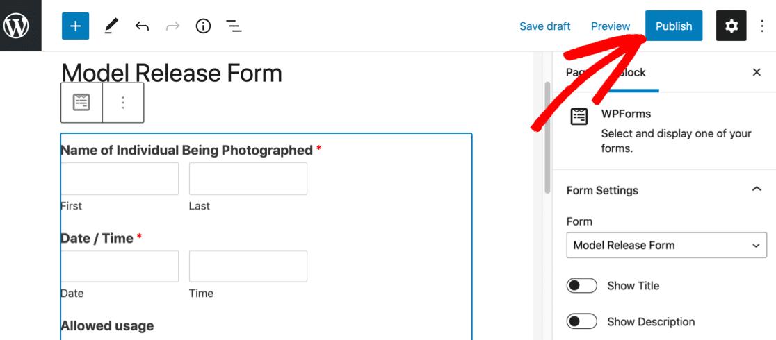 Publish your online model release form