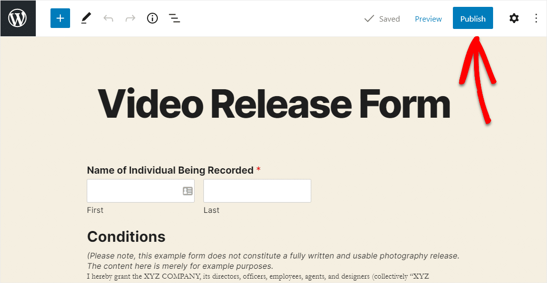 publish video release form on website
