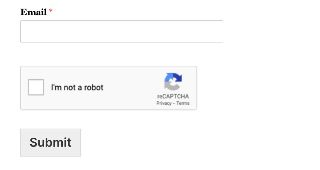 Example of Checkbox reCAPTCHA