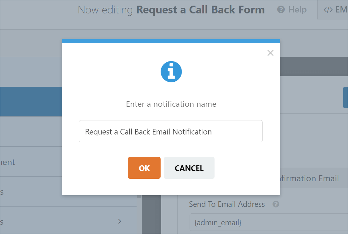request a call back email notification