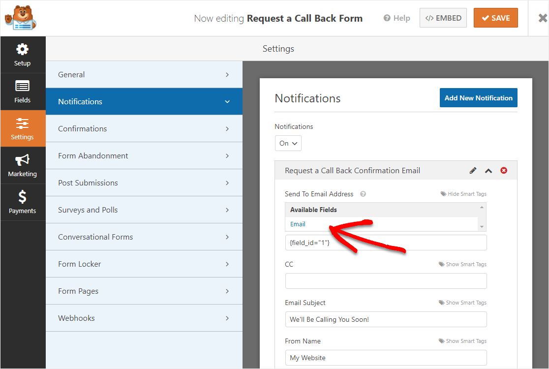 request a call back form email change notification on new message