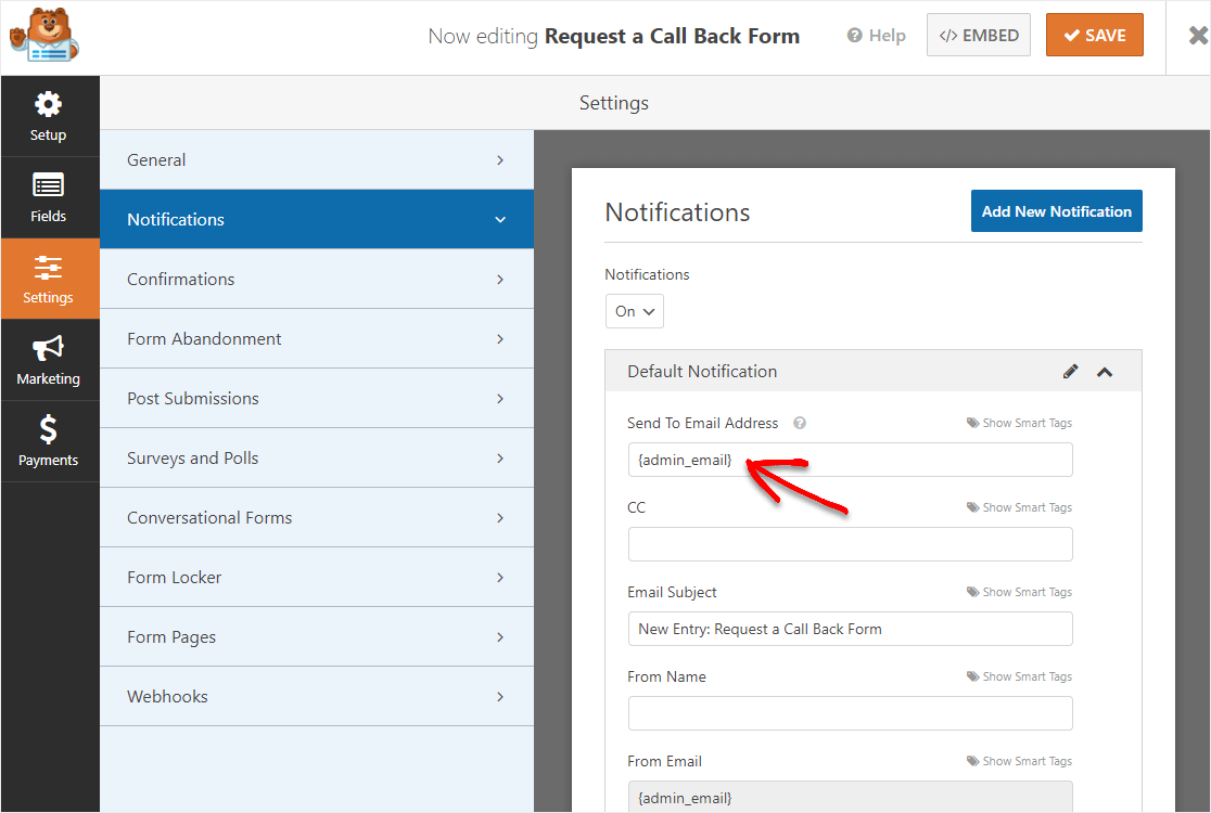 request a call back form email change notification
