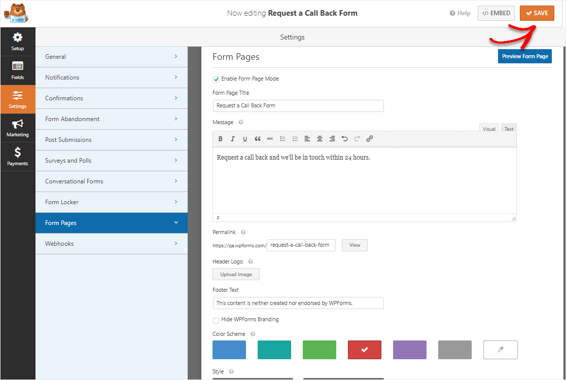 request a call back form landing page