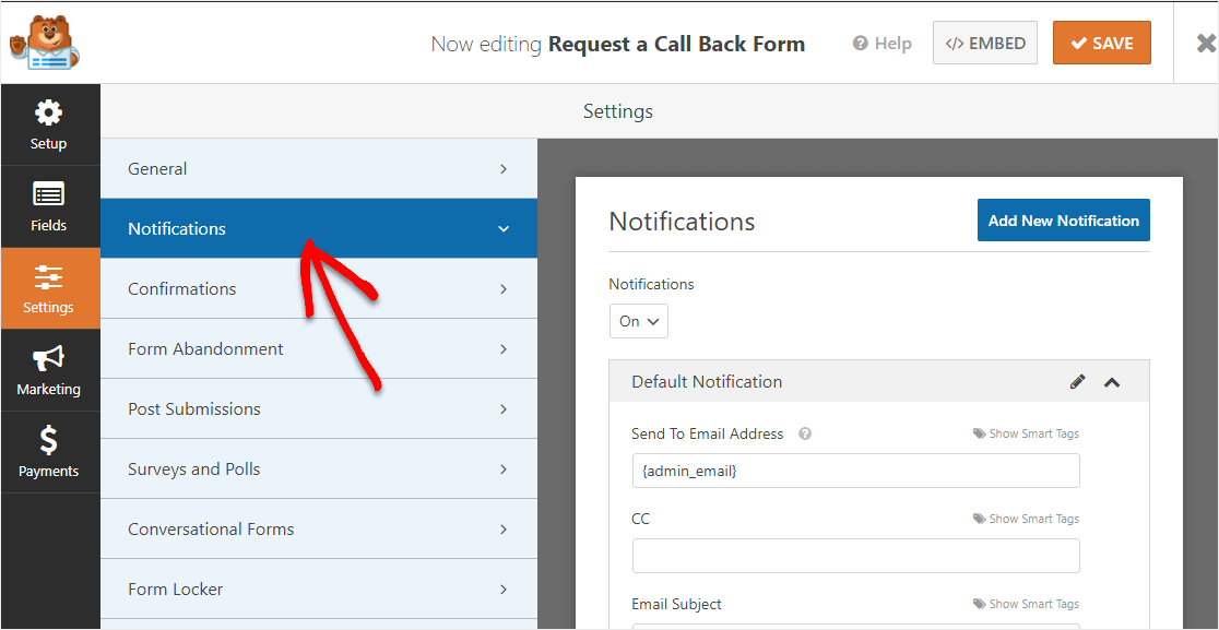 request a call back form notifications
