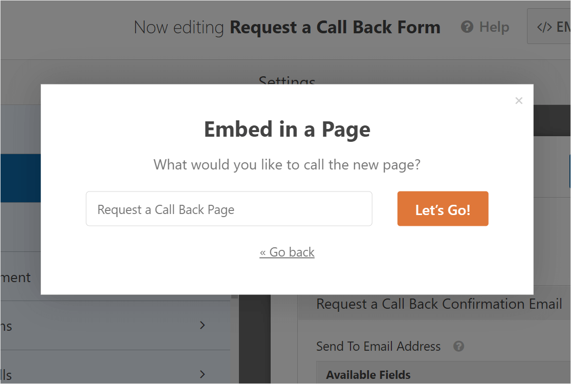 request a call back form page