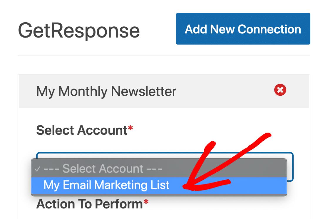 Select GetResponse account in WordPress