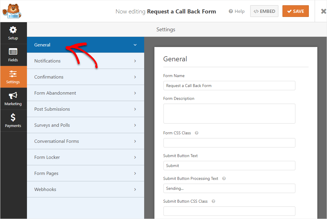 settings in wordpress for a request a call back form