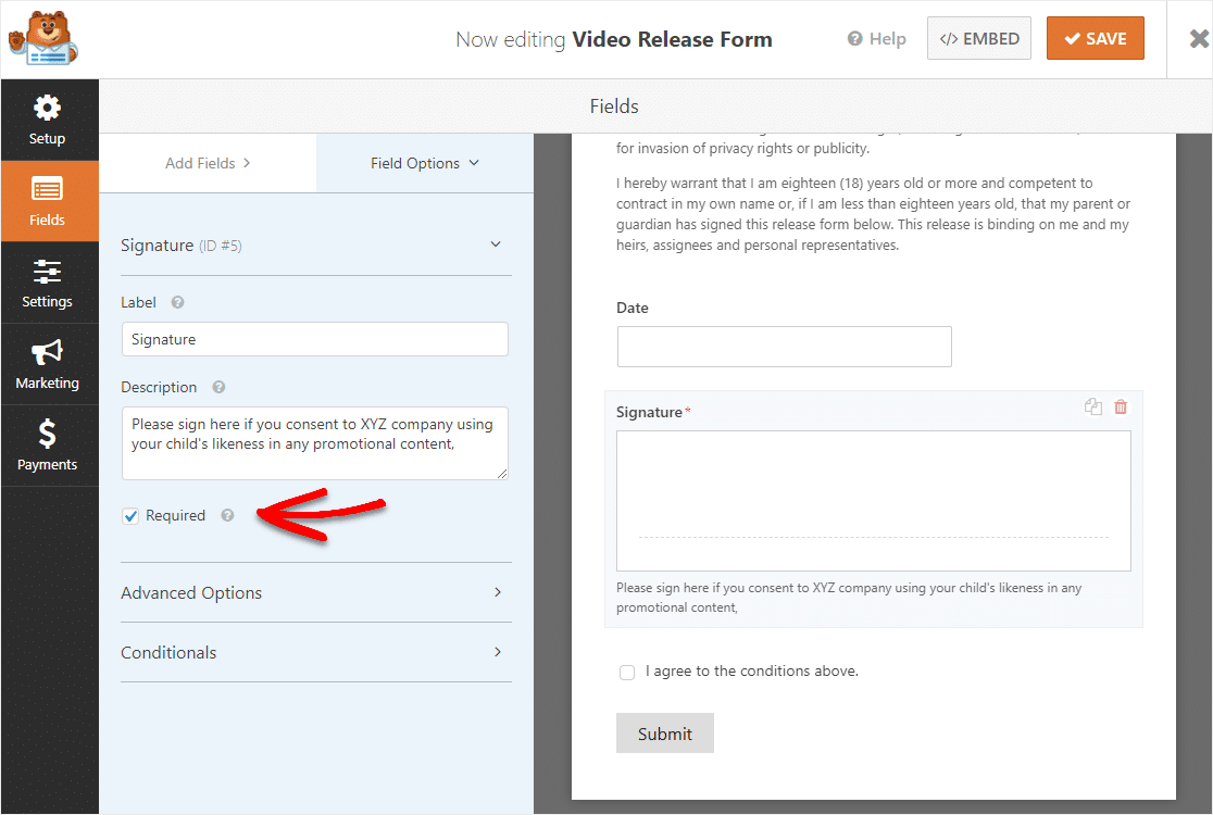 signature field on video release form