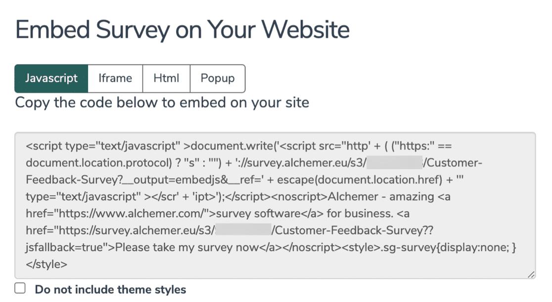 Embed survey in WordPress from Alchemer
