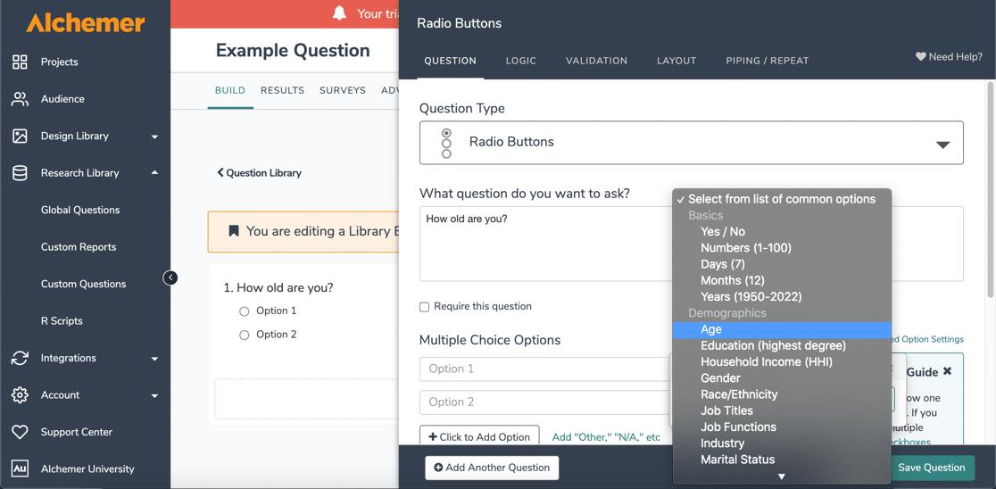 Build reusable questions in Alchemer vs SurveyMonkey