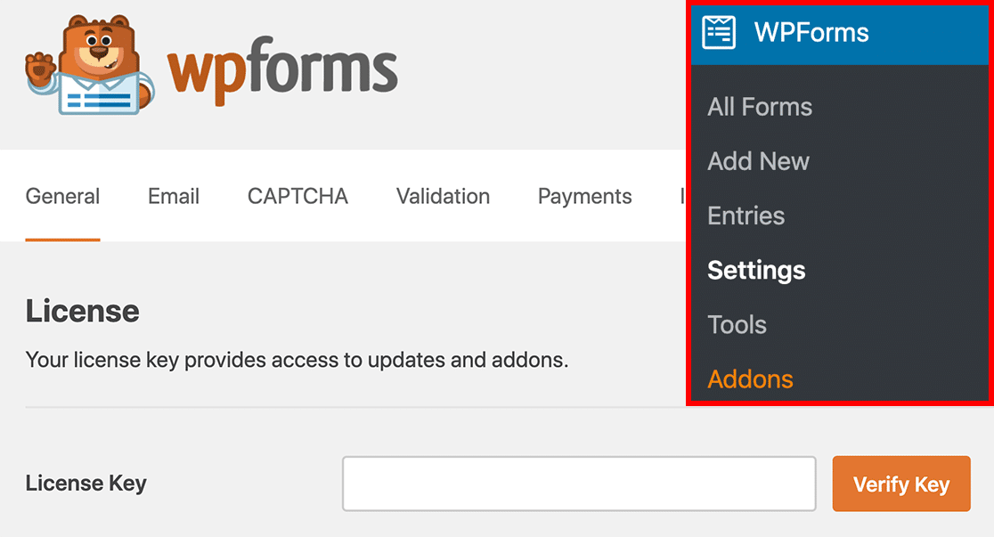 Open WPForms Settings page