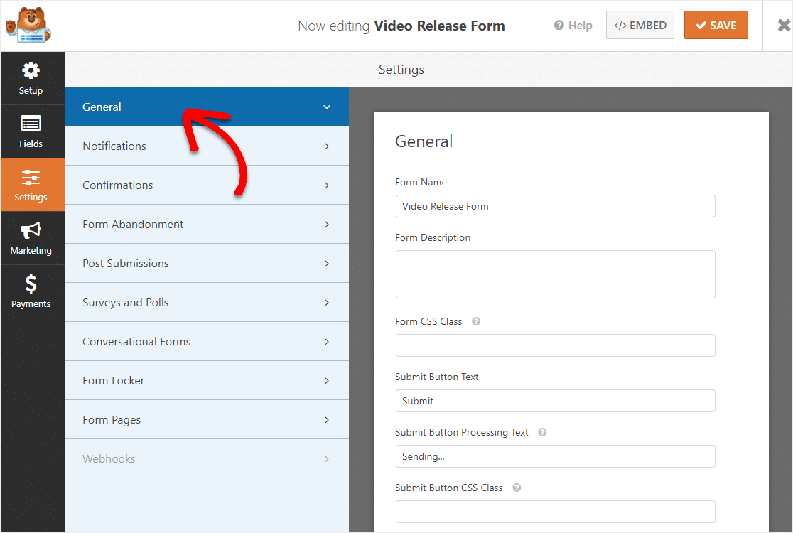video release form settings