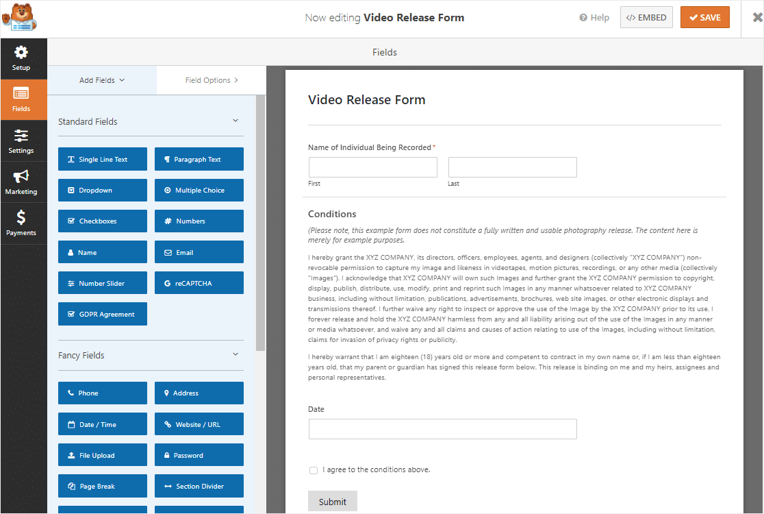 video release form template in wpforms