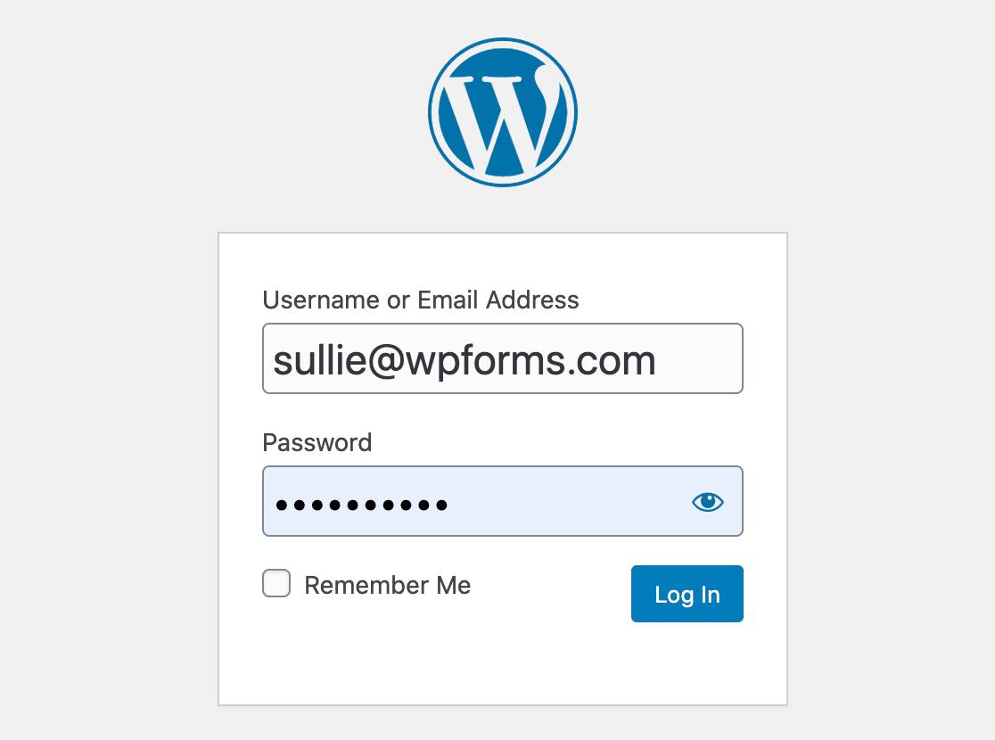 WordPress default login page