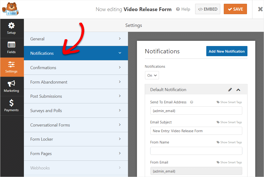 wpforms notification settings on video release form