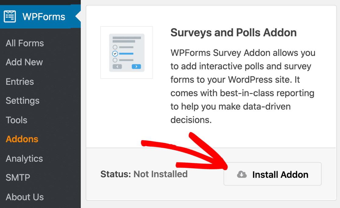 Install WPForms online survey tool