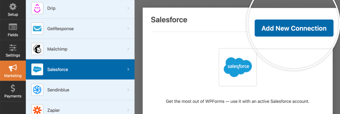 Adding a new Salesforce connection to a form