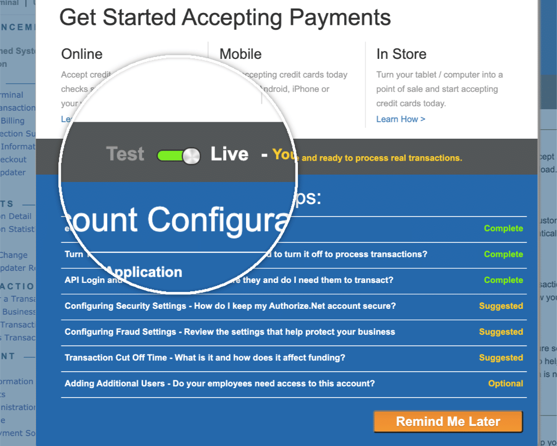 Authorize Net account is in Live mode