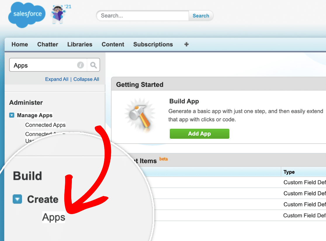Create a New App in Salesforce