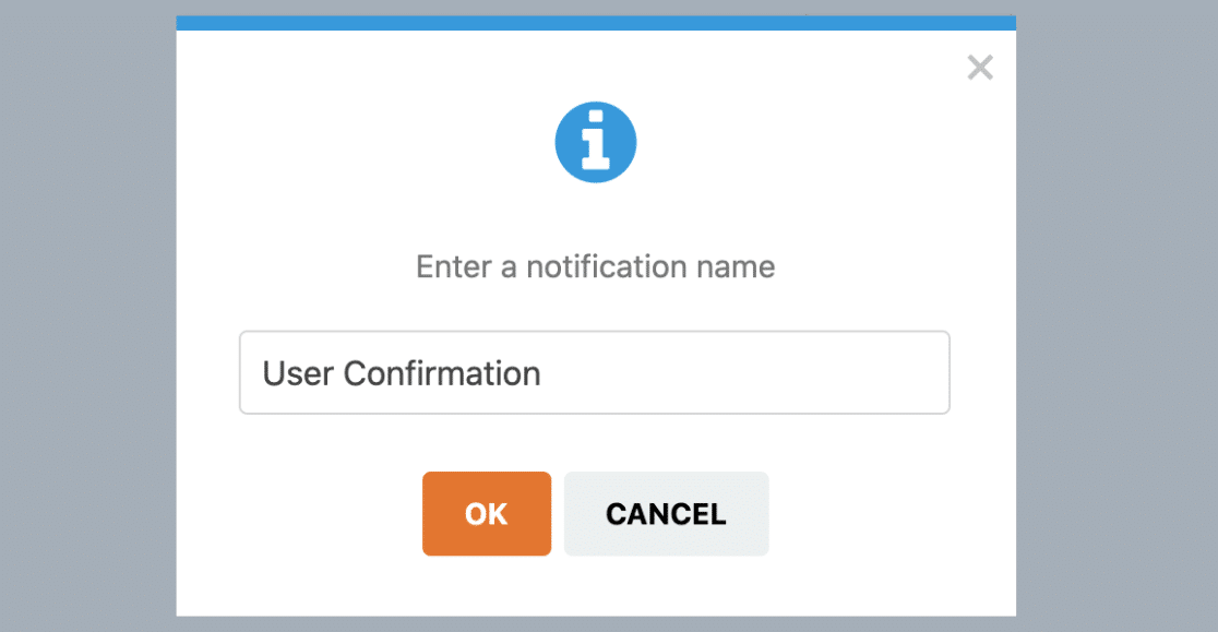 Enter a name for a new notification in WPForms