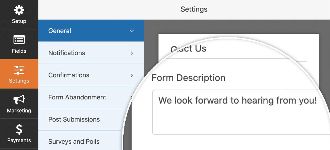 Enter the form description