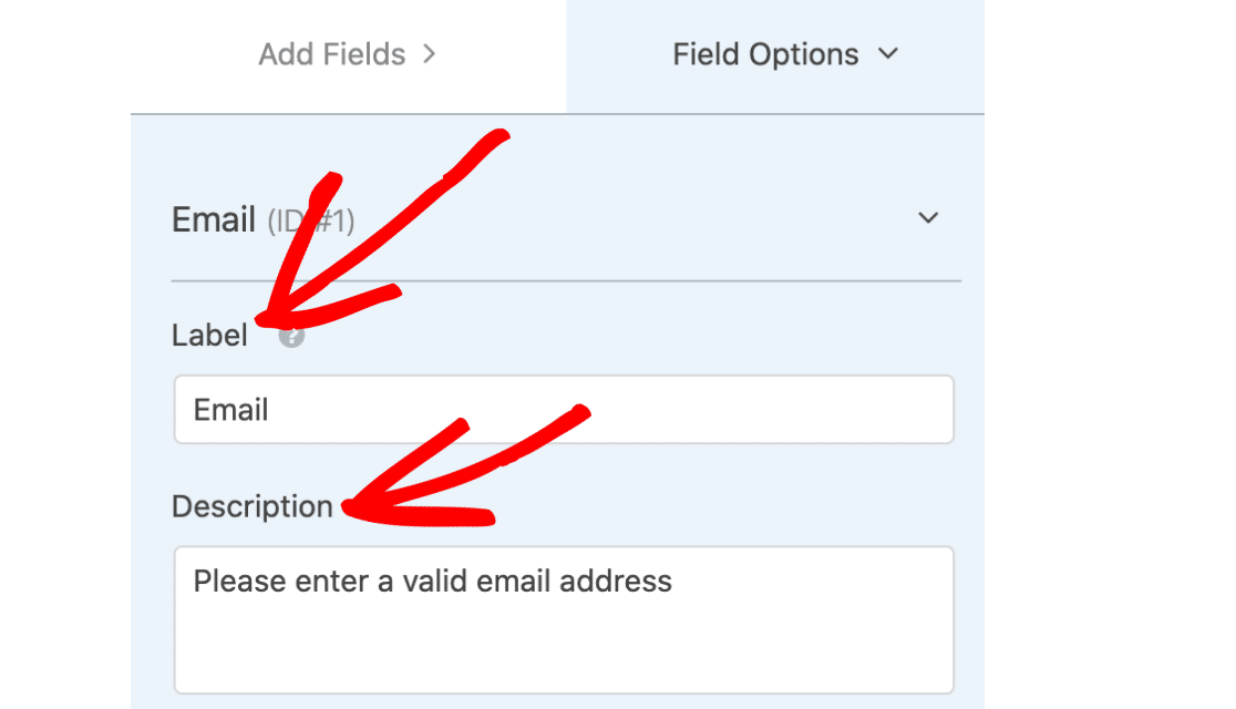 Email field label and description