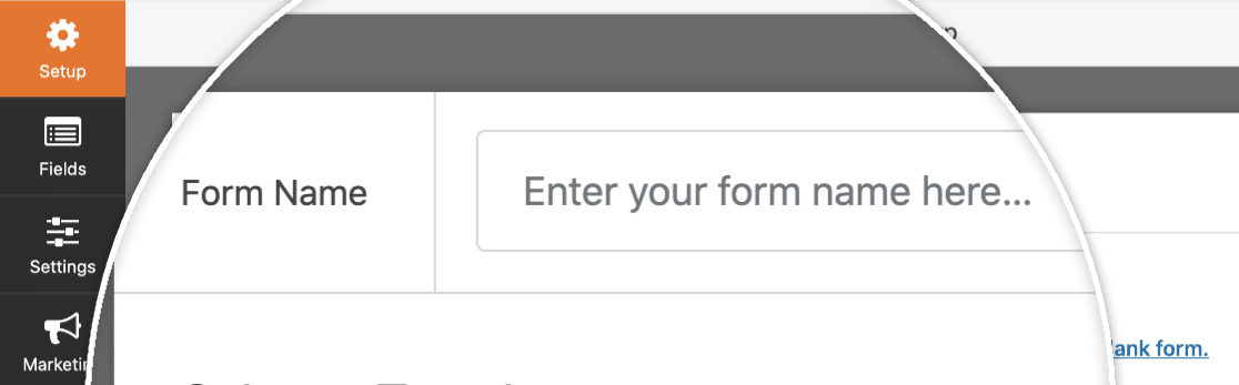 Name the form in setup step