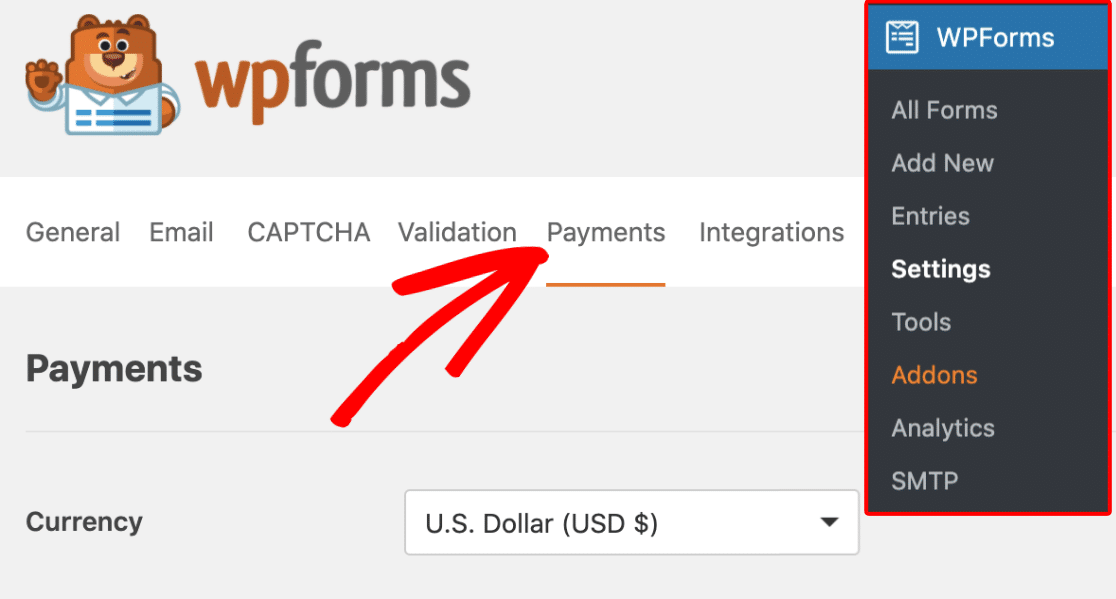 Payments tab in WPForms