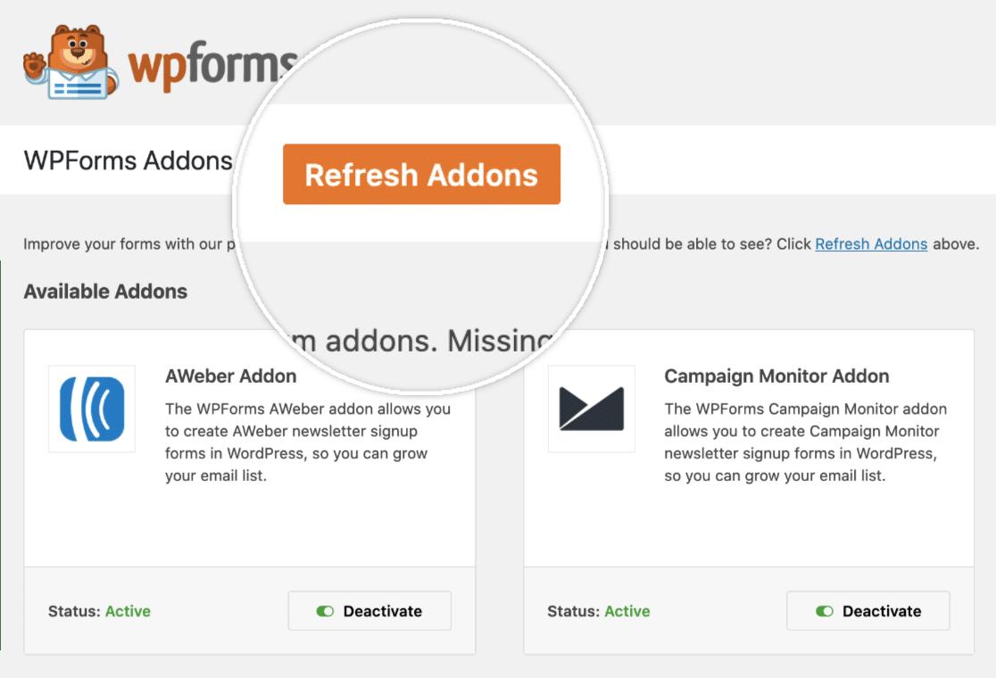 refresh addon button