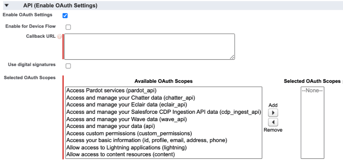 The Salesforce enable OAuth settings