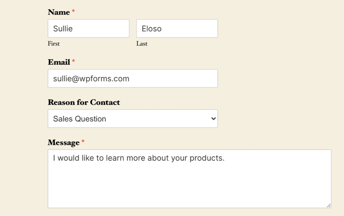 Adding some data to a form to test a Salesforce connection