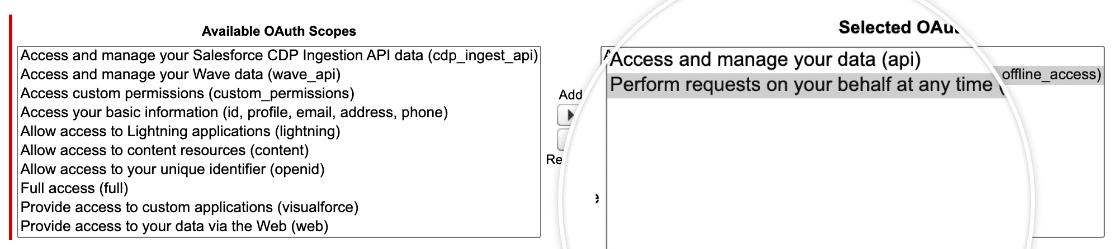Adding OAuth API permissions in Salesforce