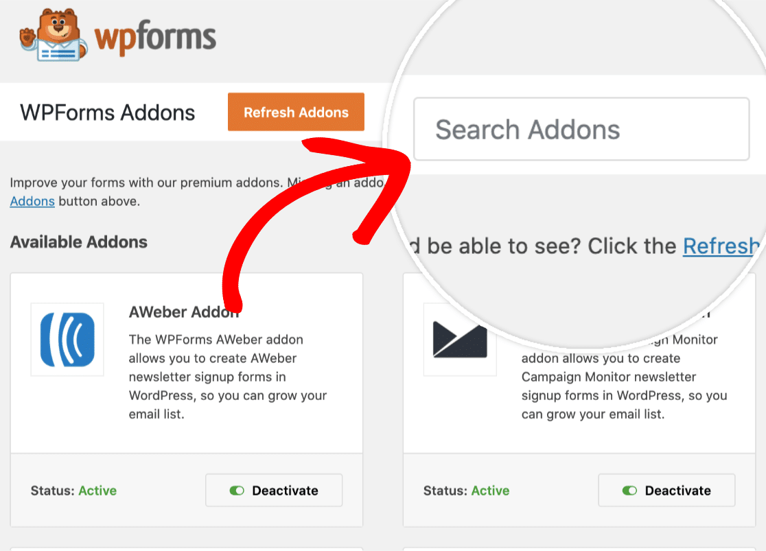 Search Bar For WPForms Addons