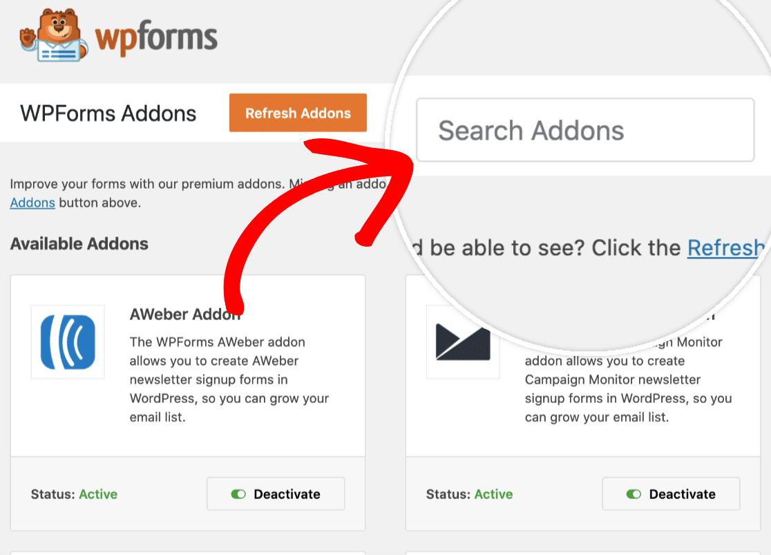 Search addons field