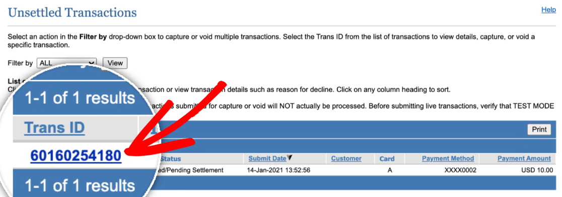 Test Transaction ID in Authorize.Net
