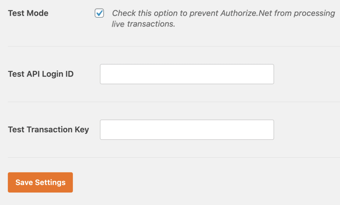 Test login and Key for Authorize.net