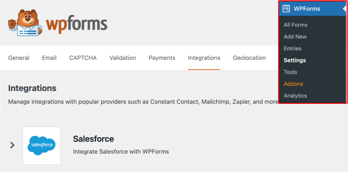 Accessing the Salesforce integration in WPForms