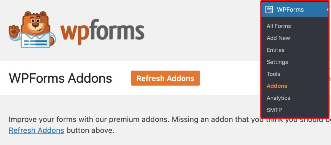 WPForms Addons Page