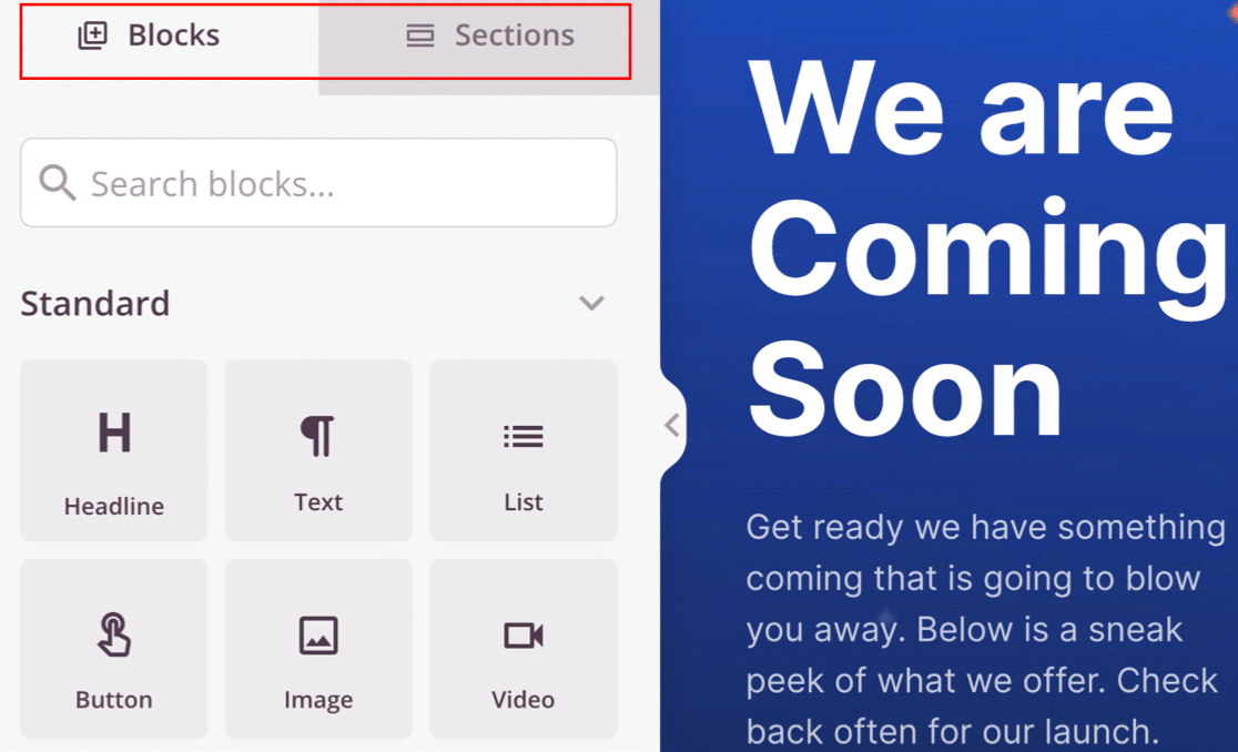 Blocks and sections in the SeedProd coming soon page builder