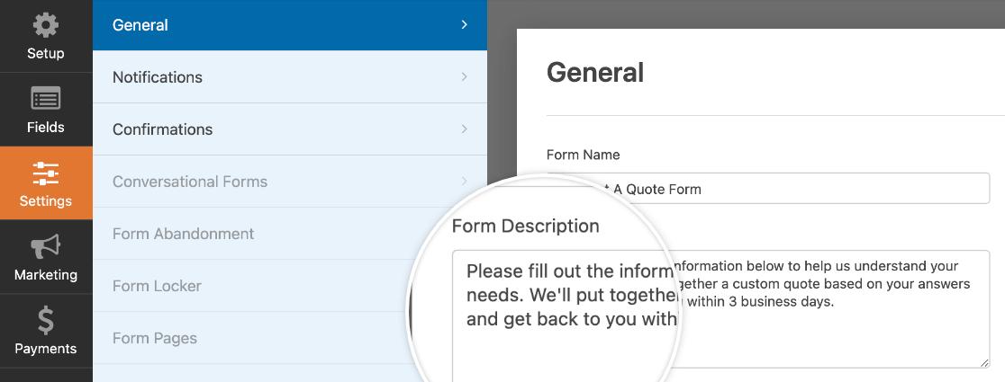 Adding a description to a form