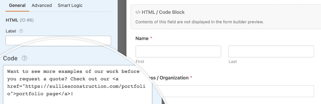 Adding a link to an HTML field
