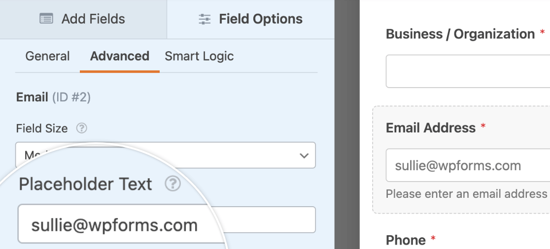 Adding placeholder text to an email field