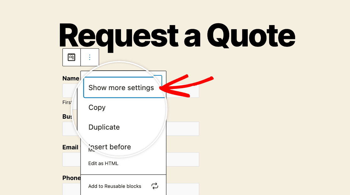 Showing more settings for the WPForms block in the block editor