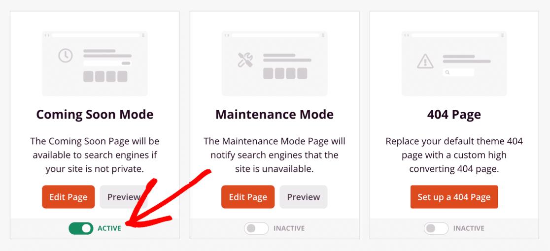 Coming Soon Mode active in WordPress